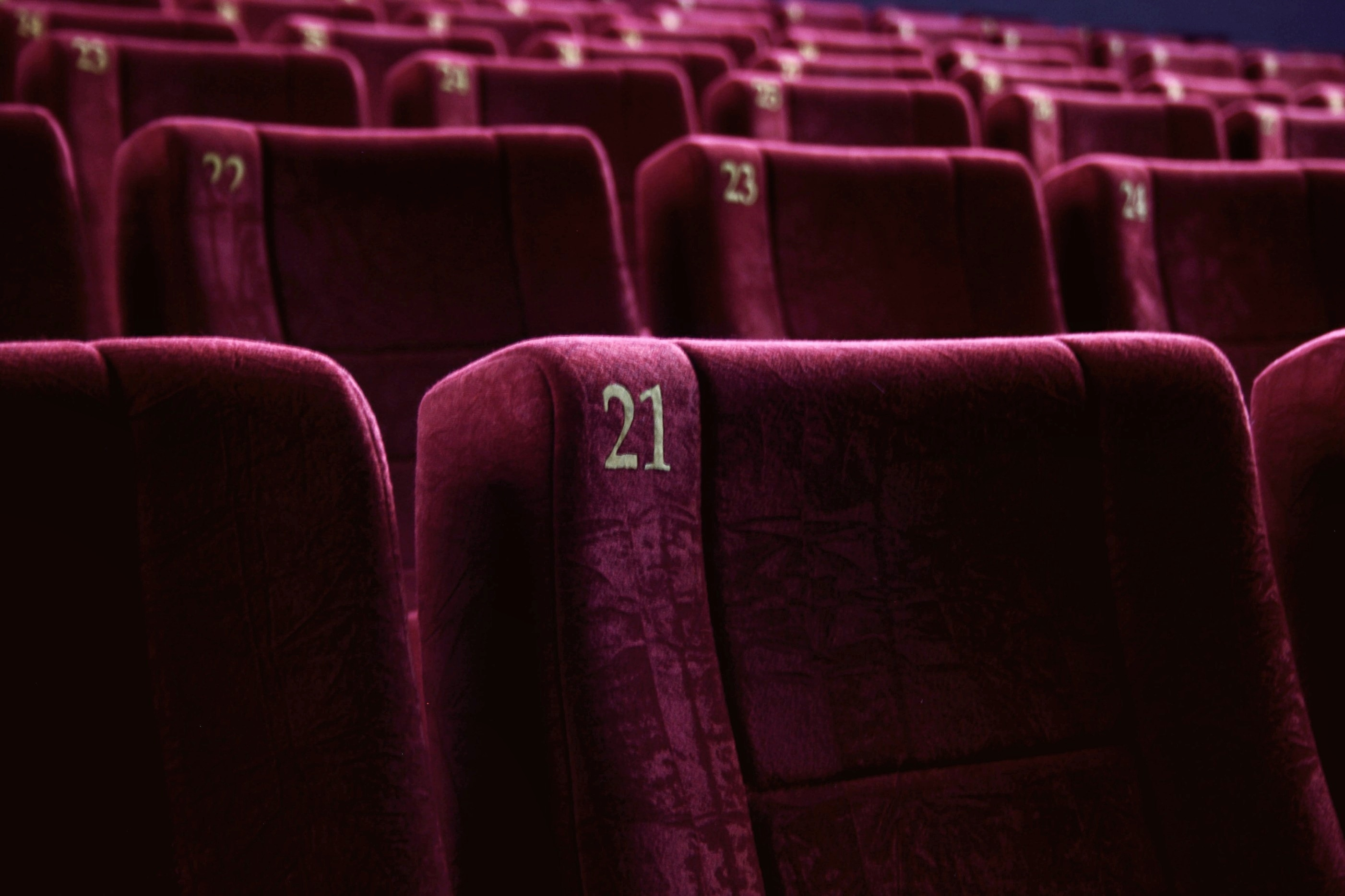 Full Frame Shot Of Empty Chairs In Music Theater